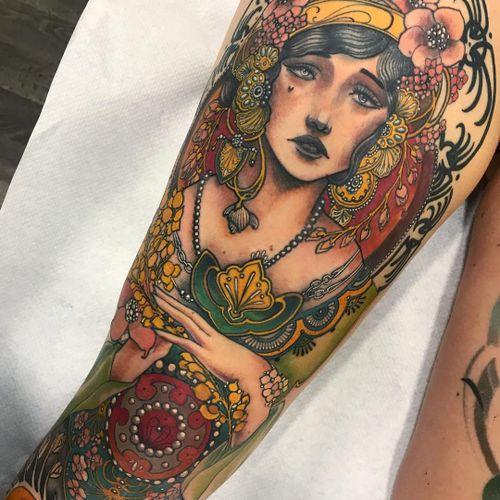 Tattoo by Miss Juliet #MissJuliet #NeoTraditionalTattoo #neotraditional #neotrad #artnouveau #artdeco