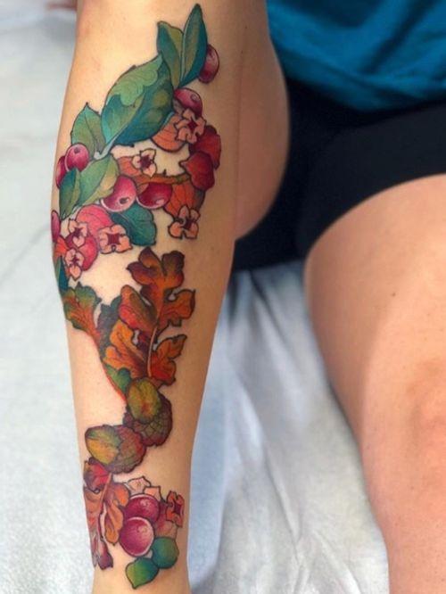 Manzanita & Oak Leaf #floral #foliage #oak #acorn #manzanita #leaf #nature #botanical #inked #femaletattooartist