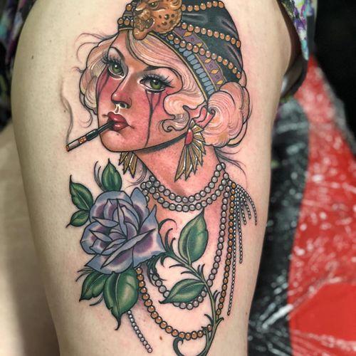 Tattoo by Sadee Glover #SadeeGlover #NeoTraditionalTattoo #neotraditional #neotrad #artnouveau #artdeco