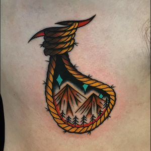 On the ribs. By #azamp  #ropes #traditional #mountains #scenery #americantraditional #heartandsoultattoo
