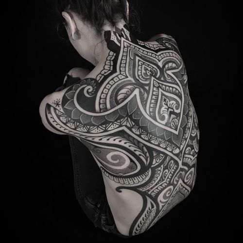 Tattoo by Darby Woodall #DarbyWoodall #tribaltattoos #tribaltattooing #tribal #ancient #blackwork #pattern #linework #dotwork #shapes #abstract