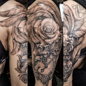 Clock rose wing tattoo