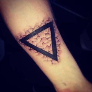 Symbol for Water, Cracked skin By Peanut, Resurgence Tattoo Studio #crackedskin #triangletattoo #water #blackandgray #pagantattoo