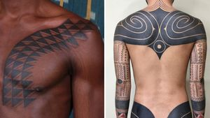 Tattoo on the left by Victor J Webster and tattoo on the right by Taku Oshima #VictorJWebster #TakuOshima #tribaltattoos #tribaltattooing #tribal #ancient #blackwork #pattern #linework #dotwork #shapes #abstract