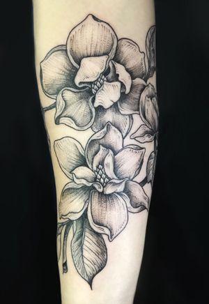 #magnolia #nyc #floral #flower #botanical #blackwork #linework