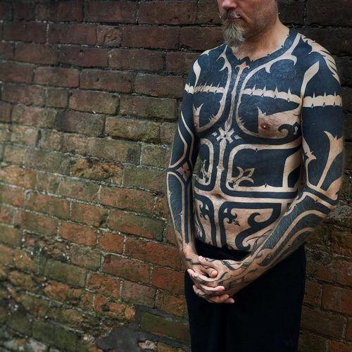 Tattoo by Hanumantra Lamar #HanumantraLamar #tribaltattoos #tribaltattooing #tribal #ancient #blackwork #pattern #linework #dotwork #shapes #abstract