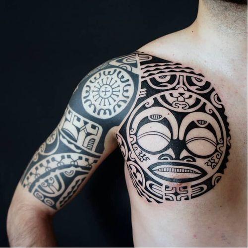 Tattoo by Dmitry Babakhin #DmitryBabakhin #tribaltattoos #tribaltattooing #tribal #ancient #blackwork #pattern #linework #dotwork #shapes #abstract