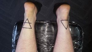Symbol for Earth and Fire By Peanut, Resurgence Tattoo Studio #triangletattoo #Black #symbols #symbolism #pagantattoo
