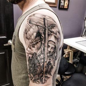Crucifix mary christ tattoo