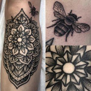 #tattoooftheday #beesknees #tattoo #mandala #blackwork #ink #healed