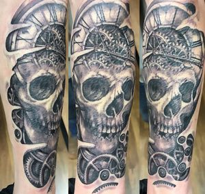 Black and grey Skull Clock cogs and gears forearm piece