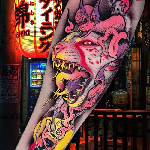 Tattoo by Brando Chiesa #BrandoChiesa #newschooltattoo #newschool #color #cat #lantern #snake #sphinx