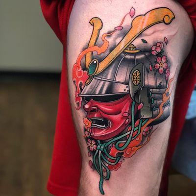 Tattoo by DJ Tambe #DjTambe #newschooltattoo #newschool #color #samurai #cherryblossoms #Japanese #smoke #fire #helmet