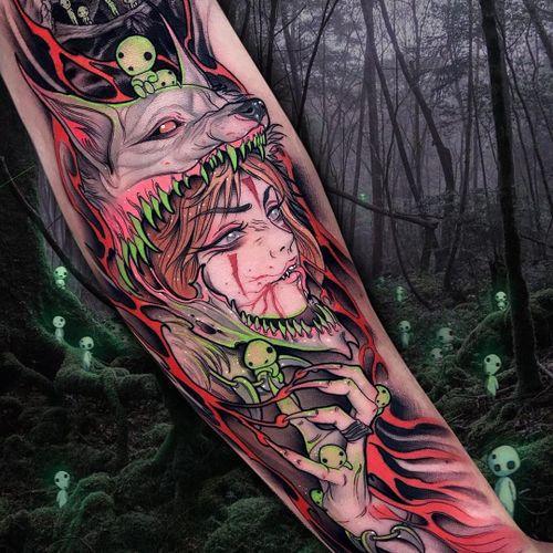 Tattoo by Brando Chiesa #BrandoChiesa #newschooltattoo #newschool #color #StudioGhibli #portrait #forestspirits #kodama #PrincessMononoke