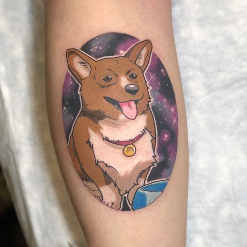 Tattoo by Kimberly Wall #KimberlyWall #newschooltattoo #newschool #color #CowboyBebop #Ein #dog #cute #galaxy #anime #manga