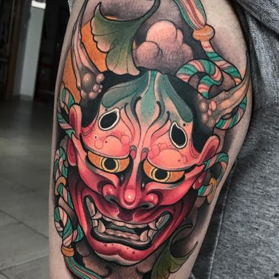 Tattoo by Oash Rodriguez #OashRodriguez #newschooltattoo #newschool #color #Japanese #hannya #leaves #smoke #mask