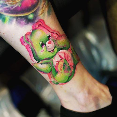 Tattoo by Steven Compton #StevenCompton #newschooltattoo #newschool #color #Carebear #420 #beart #cute #heart