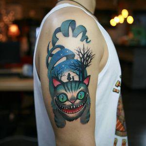 Tattoo by Sangjin aka poly sj #Sangjin #Polysj #newschooltattoo #newschool #color #aliceinwonderland #cheshirecat #cat