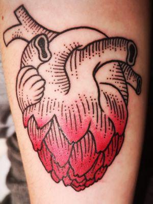 By Haddock Tattoo, Dijon #tattoo #tattooartist #artichoke #artichoketattoo #artichokeheart #heart #color
