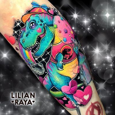 Tattoo by Lillian Raya #LillianRaya #newschooltattoo #newschool #color #trex #jurassicpark #dinosaur #dino #stars #rainbow #cute #hearts