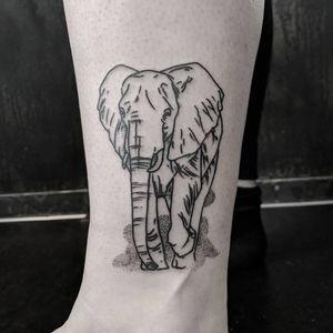 thanks janine! - - #elephant #elephanttattoo #linework #blackwork #tobithetattooer #vienna #tattoovienna
