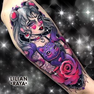 Tattoo by Lillian Raya #LillianRaya #newschooltattoo #newschool #color #sailormoon #luna #cat #rose #flower #moon #sparkle #heart