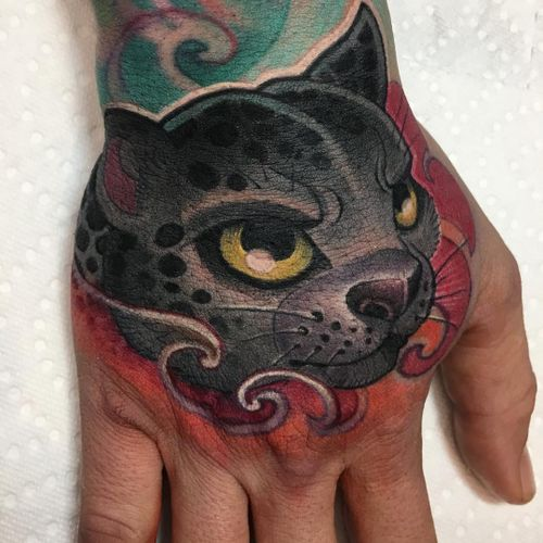 Tattoo by Logan Barracuda #LoganBarracuda #newschooltattoo #newschool #color #cat #kitty #cute #handtattoo