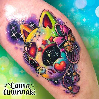 Tattoo by Laura Anunnaki #LauraAnunnaki #newschooltattoo #newschool #color #cat #mask #bell #hearts #stars #fox