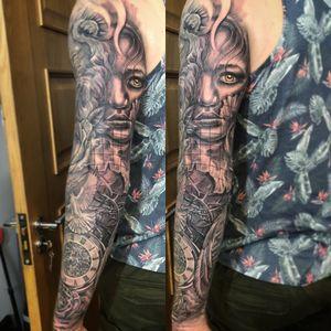 full sleeve tattoo in progress