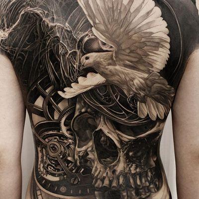 Tattoo by Josh Lin #JoshLin #realismtattoos #hyperrealismtattoos #realism #hyperrealism #realistic #dove #blackandgrey #skull #clock #smoke #surreal #death #time