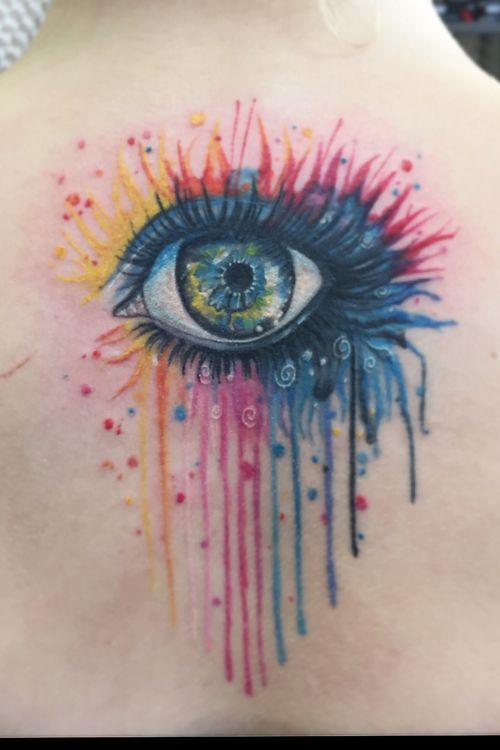 Watercolor rainbow eye tattoo