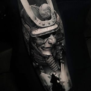Tattoo by Thomas Carli Jarlier #ThomasCarliJarlier #realismtattoos #hyperrealismtattoos #realism #hyperrealism #realistic #blackandgrey #samurai #warrior #rope #ronin #armor