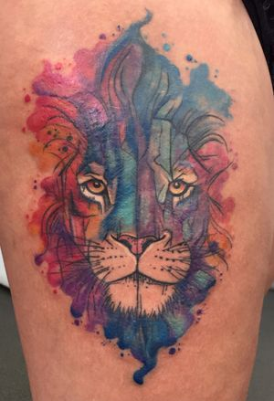 #Watercolor #lion #thightattoo #colortattoo