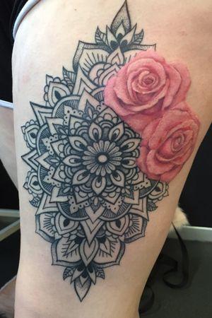 Mandala Pattern work with pink roses
