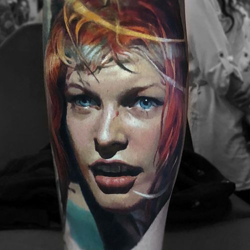 Tattoo by Valentina Riabova #ValentinaRiabova #realismtattoos #hyperrealismtattoos #realism #hyperrealism #realistic #thefifthelement #multipass #portrait #girl #lady #babe #color #Leeloo #MillaJovovich