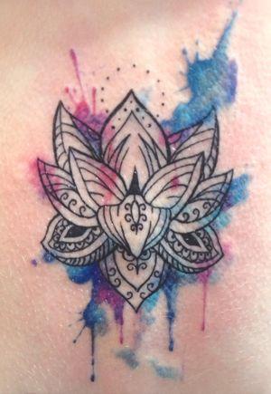 Watercolor pattern lotus