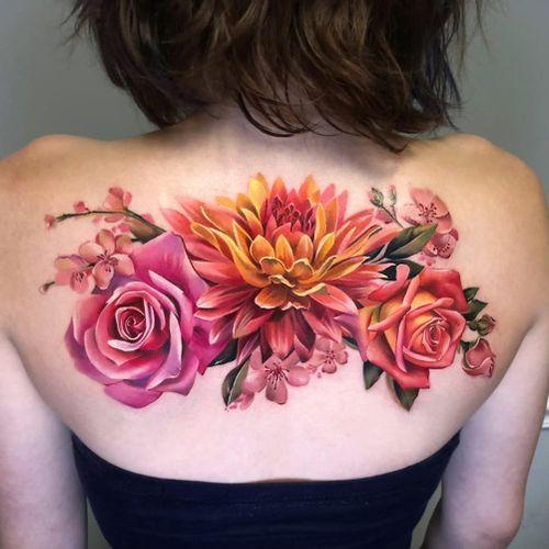 Tattoo by Antonina Troshina #AntoninaTroshina #realismtattoos #hyperrealismtattoos #realism #hyperrealism #realistic #flowers #rose #cherryblossom #floral #nature #color