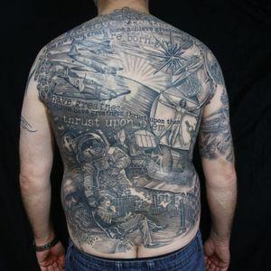 Tattoo backpiece , tribute to science.