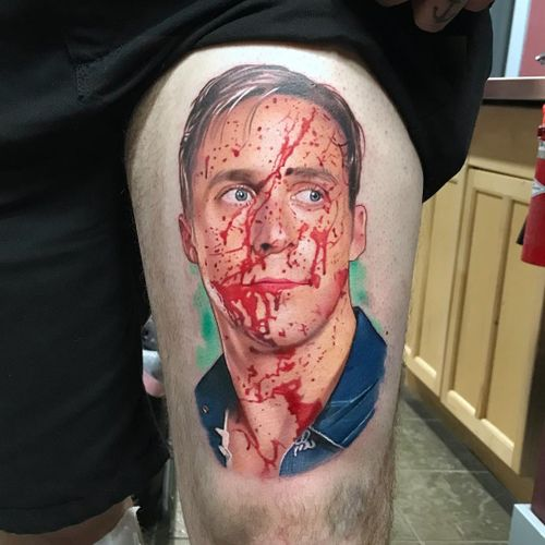 Tattoo by David Corden #DavidCorden #realismtattoos #hyperrealismtattoos #realism #hyperrealism #realistic #Drive #movie #film #moviestill #portrait #blood #RyanGosling