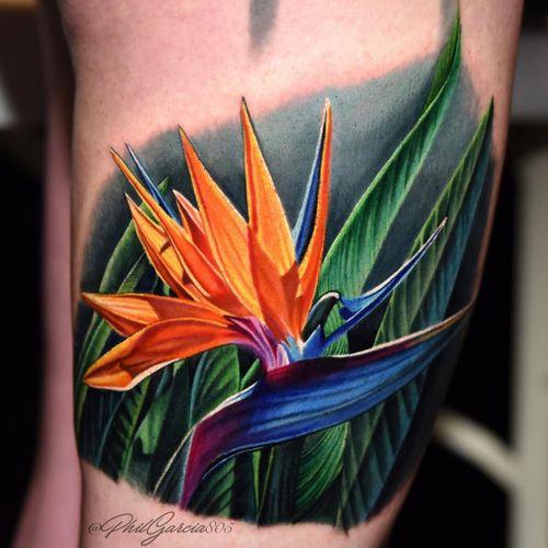 Tattoo by Phil Garcia #PhilGarcia #realismtattoos #hyperrealismtattoos #realism #hyperrealism #realistic #birdofparadise #flower #floral #leaves #nature #plant #tropical