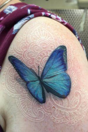 Blue Morpho Butterfly white madala patterns #butterfly #mandala #whiteink