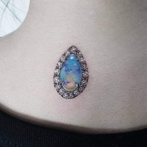 Tattoo by Tattooist Ziho #TattooistZiho #Ziho #realismtattoos #hyperrealismtattoos #realism #hyperrealism #realistic #moonstone #diamond #jewel #stone #gem