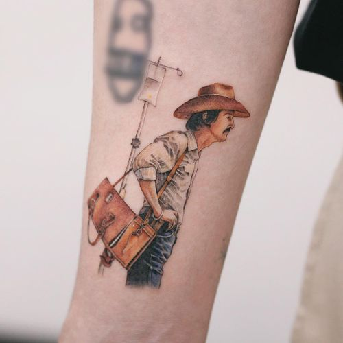 Tattoo by Saegeem #Saegeem #realismtattoos #hyperrealismtattoos #realism #hyperrealism #realistic #dallasbuyersclub #matthewmcconaughey #film #movie #moviestill #cowboyhat