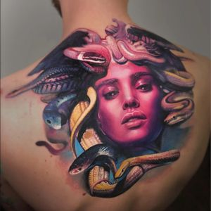 Tattoo by Sergey Shanko #SergeyShanko #realismtattoos #hyperrealismtattoos #realism #hyperrealism #realistic #Medusa #portrait #lady #babe #snakes #reptiles