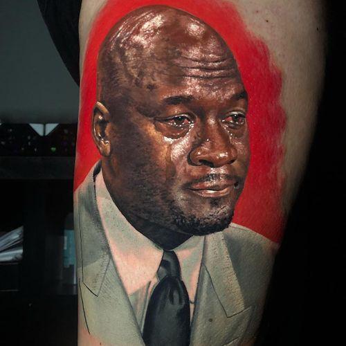 Tattoo by Steve Butcher #SteveButcher #realismtattoos #hyperrealismtattoos #realism #hyperrealism #realistic #MichaelJordan #portrait #tears #basketball
