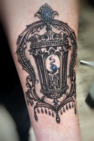 Ornamental gothic lantern, gem tattoo, jewel tattoo, ornamental tattoo