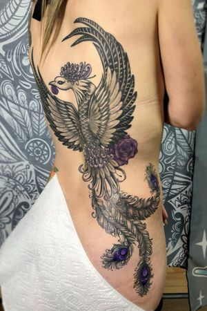 I look forward to getting a better image of this #pheonix #backpiece #blackandgrey #purple #rose