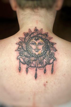 Ornamental sun mandala! Gem tattoo, pearls, lace, jewel tattoo