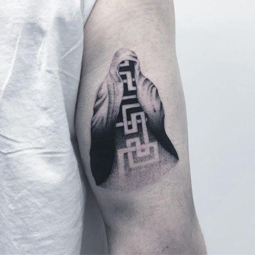 Tattoo by Thomas aka badluckveteran #Thomas #Badluckveteran #beautifultattoos #beautiful #blackandgrey #illustrative #surreal #sacredgeometry #pattern #dotwork