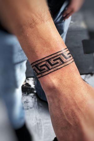 Greek meander wristlet bracelet texture